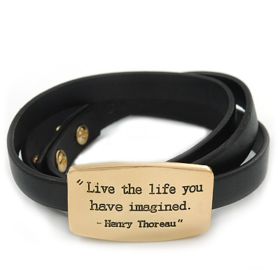 Black Leather 'Live the Life you have imagined' inscription by Henry Thoreau Wrap Bracelet (Gold Tone) - Adjustable