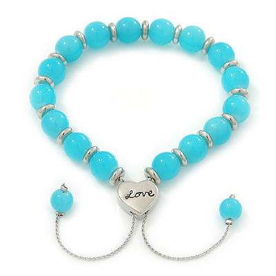 Polished Blue Glass Bead 'Love' Bracelet - 6mm - Adjustable