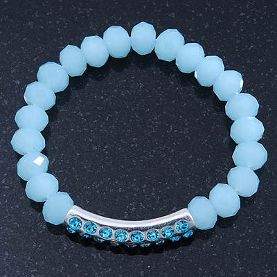 Light Blue Mountain Crystal and Swarovski Elements Stretch Bracelet - Up to 20cm Length - main view