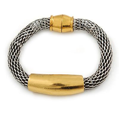 Burn Silver/ Gold Tone Mesh Magnetic Bracelet - 20cm Length