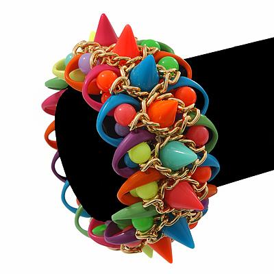 Multicoloured Acrylic Bead, Spike & Chain Flex Bracelet - Up to 19cm length - main view