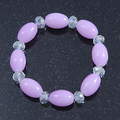 Lavender/ Transparent Glass Bead Stretch Bracelet - 17cm Length