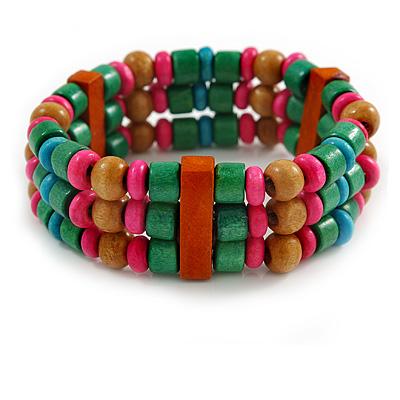 Multicoloured Wood Bead Flex Bracelet - 18cm Length
