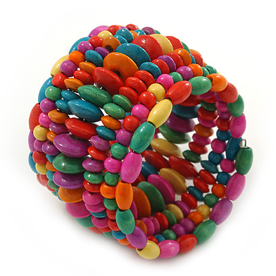 Wide Coil Multicoloured Wood Bead Bracelet - Adjustable