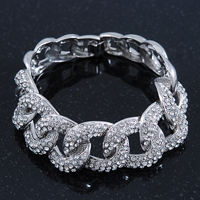 Glamorous Chunky Rhodium Plated Swarovski Elements Crystal Encrusted Chain Link Bracelet - 18cm Length - main view