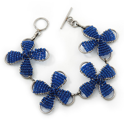 Dark Blue Glass Bead Floral Bracelet With T-Bar Closure In Silver Plating - 18cm Length