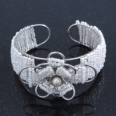 Fancy Glass Bead Floral Cuff Bracelet In Silver Tone - Adjustable - White - main view