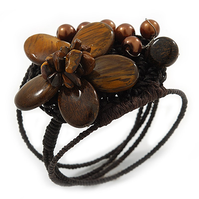 Chocolate Brown Ceramic, Simulated Pearl Bead Flower Wired Flex Bracelet - Adjustable