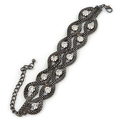 Chunky Gun Metal Mesh Chain Bracelet With Clear Crystals - 16cm (8cm Extension)
