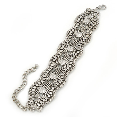 Wide Rhodium Plated Mesh Chain Structured Bracelet With Clear Crystals - 17cm (9cm Extension)