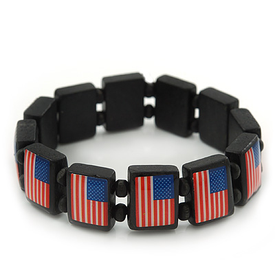 US American Flag Black Stretch Wooden Bracelet - up to 20cm length