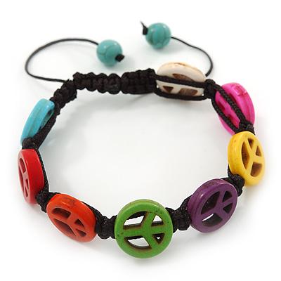 Unisex Multicoloured Plastic 'Peace' Friednship Bracelet On Black Silk String - Adjustable