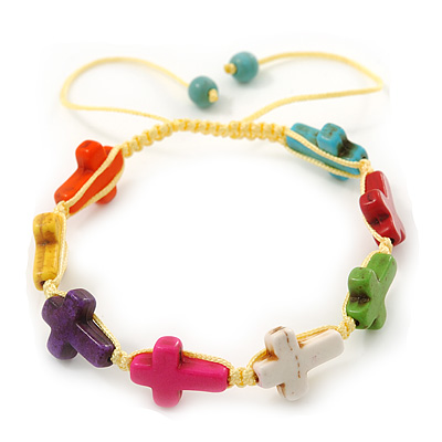 Unisex Multicoloured Plastic 'Cross' Friednship Bracelet On Silk String - Adjustable