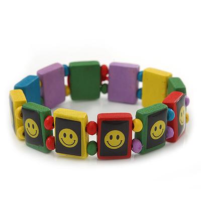 'Happy Face' Multicoloured Wood Flex Bracelet - main view