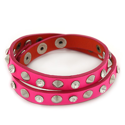 Neon Pink Leather Style Crystal and Spike Studded Wrap Bracelet - Adjustable (One Size Fits All) - main view