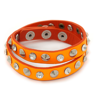 Neon Orange Leather Style Crystal and Spike Studded Wrap Bracelet - Adjustable (One Size Fits All) - main view