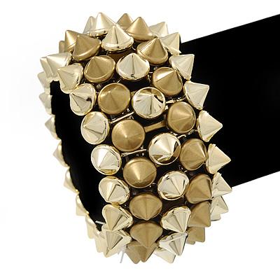 Rock Chick Gold Tone Polished & Matt Plastic Spike Flex Bracelet - 18cm Length