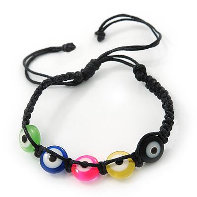 Evil Eye Multicoloured Acrylic Bead Protection Teen Friendship Black Cord Bracelet - (13cm to 16cm)Adjustable
