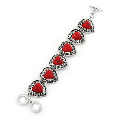 Vintage Inspired 'Hearts' With Red Ceramic Stones Bracelet With T-Bar Closure In Burn Silver Metal - 18cm Length