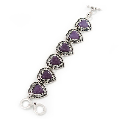 Vintage Inspired 'Hearts' With Purple Ceramic Stones Bracelet With T-Bar Closure In Burn Silver Metal - 18cm Length