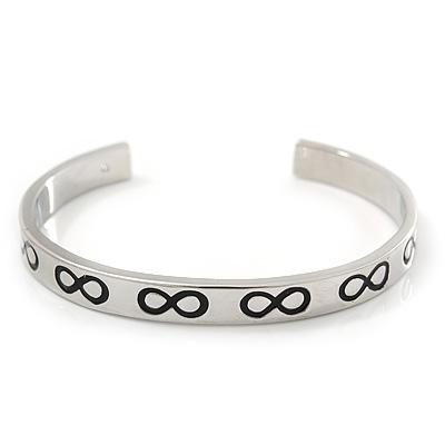 Polished Silver Tone 'Infinity' Slip-On Cuff Bracelet - up to 21cm