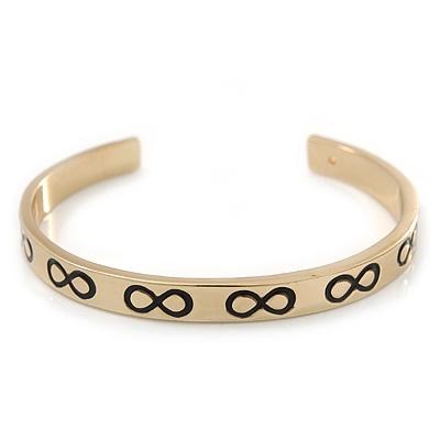 Polished Gold Tone 'Infinity' Slip-On Cuff Bracelet - up to 21cm