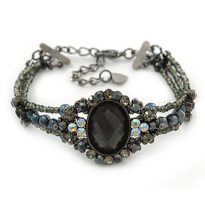 Victorian Style Black, Grey, AB Beaded Bracelet In Gun Metal Finish - 15cm Length/ 5cm Extension - main view