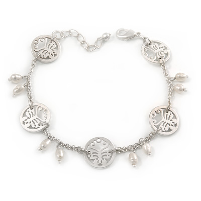 Matt Light Silver Tone Butterfly, Freshwater Pearl Chain Bracelet - 17cm L/ 3cm Ext - main view