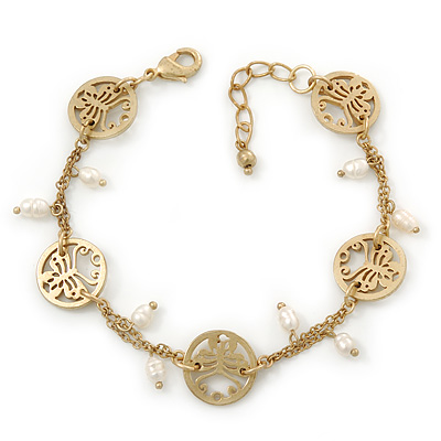 Matt Gold Butterfly, Freshwater Pearl Chain Bracelet - 17cm Length/ 3cm Extension