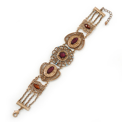 Victorian Style Filigree, Cranberry, Topaz Coloured Bead Bracelet In Antique Gold Tone - 17cm Length/ 3cm Extension