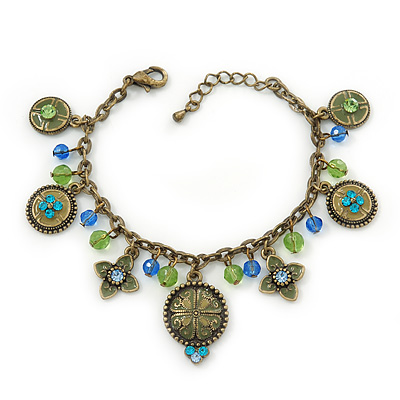 Vintage Inspired Floral, Bead Charm Bracelet In Bronze Tone (Olive Green, Light Blue) - 16cm Length/ 3cm Extension