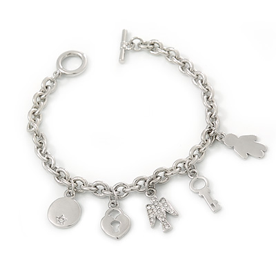 Rhodium Plated Charm Bracelet With T-Bar Closure - 19cm Length