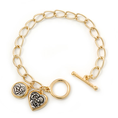 Gold Plated Oval Link With Angel Charm Bracelet With T-Bar Closure - 18cm Length