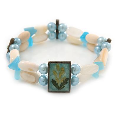 Two Strand Shell, Glass, Imitation Pearl Bead Flex Bracelet (Cream, Light Blue Colours) - 18cm Length