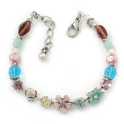 Vintage Inspired Multicoloured Enamel, Crystal Flower, Freshwater Pearl, Glass Bead Bracelet In Silver Tone - 16cm Length/ 4cm Extension - main view