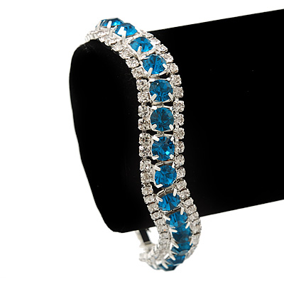 Teal/Clear Swarovski Crystal Curved Bracelet In Rhodium Plated Metal - 17cm Length