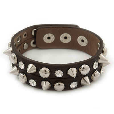Crystal Studded Dark Brown Faux Leather Strap Bracelet (Silver Tone) - Adjustable up to 22cm