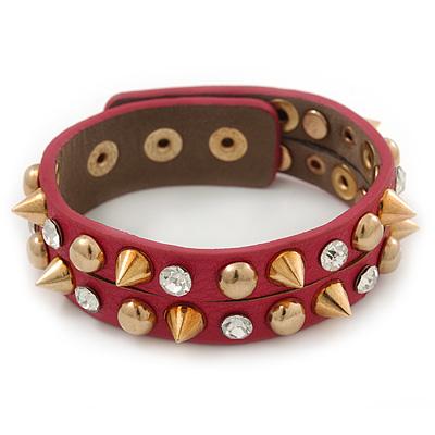 Crystal Studded Deep Pink Faux Leather Strap Bracelet (Gold Tone) - Adjustable up to 22cm