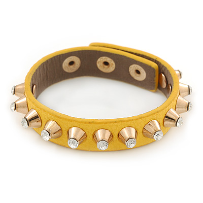 Crystal Studded Yellow Faux Leather Strap Bracelet (Gold Tone) - Adjustable up to 20cm