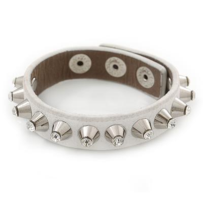 Crystal Studded White Faux Leather Strap Bracelet (Silver Tone) - Adjustable up to 20cm
