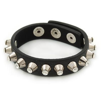 Crystal Studded Black Faux Leather Strap Bracelet (Silver Tone) - Adjustable up to 20cm