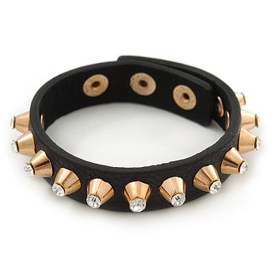 Crystal Studded Black Faux Leather Strap Bracelet (Gold Tone) - Adjustable up to 20cm