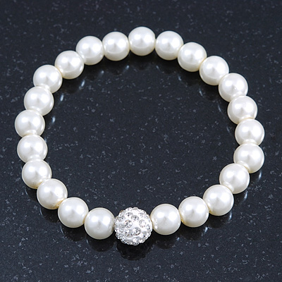 Bridal/ Prom/ Wedding 8mm White Glass Bead With Clear Swarovski Crystal Ball Flex Bracelet - 18cm Length