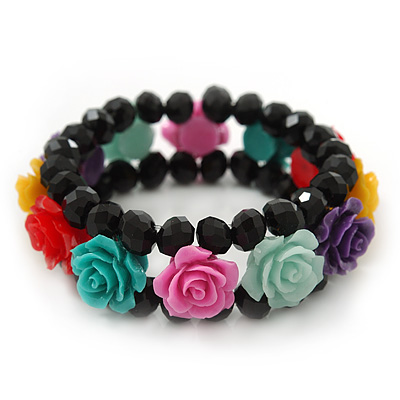 Romantic Multicoloured Resin Rose, Black Glass Bead Flex Bracelet - 19cm Length - main view