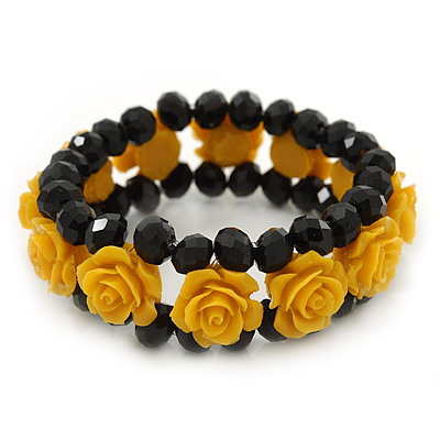 Romantic Yellow Resin Rose, Black Glass Bead Flex Bracelet - 19cm Length - main view