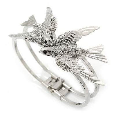 Diamante 'Swallow' Hinged Bangle Bracelet In Rhodium Plating - up to 19cm wrist