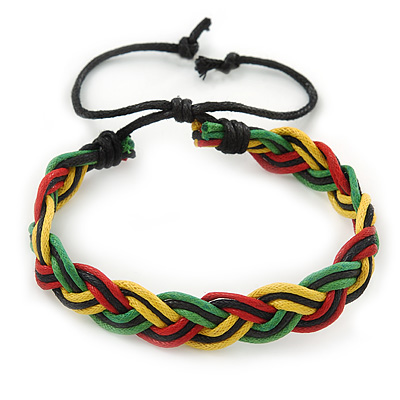 Unisex Red, Yellow, Green & Black Rasta Bob Marley Silk Cord Bracelet - Adjustable