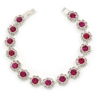 Fuchsia /Clear Swarovski Crystal Floral Bracelet In Rhodium Plated Metal - 17cm - main view
