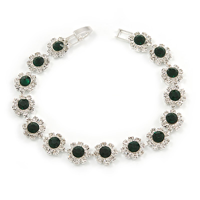 Emerald Green/ Clear Austrian Crystal Floral Bracelet In Rhodium Plated Metal - 17cm L - main view