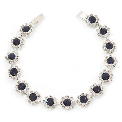 Montana Blue/ Clear Swarovski Crystal Floral Bracelet In Rhodium Plated Metal - 17cm L